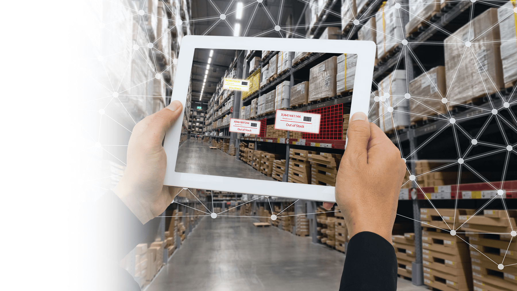 man holding tablet in front of warehouse shelves
